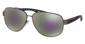 Prada Sport PS 58QS DG12E2 GREY MIRROR MILKY BLUEGUNMETAL RUBBER