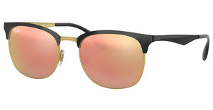 Ray-Ban RB3538 187/2Y LIGHT BROWN MIRROR PINKTOP SHINY BLACK ON GOLD