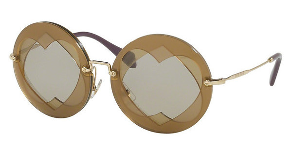 Miu Miu MU 01SS VA25J2 LIGHT BROWNHAZELNUT/YELLOW