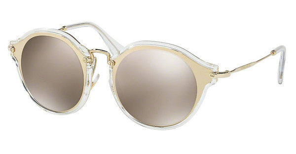 Miu Miu MU 51SS ZVN1C0 LIGHT BROWN MIRROR GOLDPALE GOLD