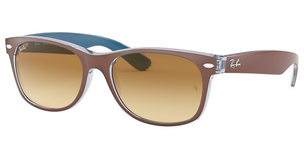 Ray-Ban RB2132 618985 LIGHT BROWN GRAD DARK BROWNTOP MT CHOCOLATE ON BLUE